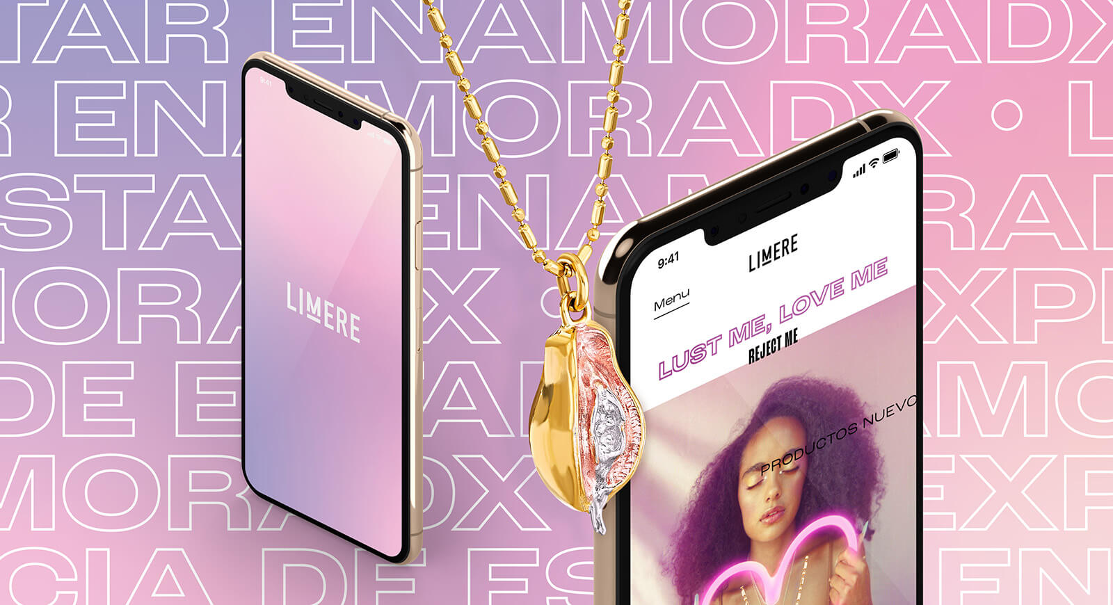 Limere // Mobile Website and Vulvanic Papaya 18 Karat Gold Necklace